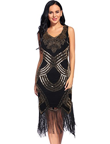 Sexy Fringed Flapper Dress - Women's 1920s Gatsby Dress V Neck Sequin Beads Fringed Cocktail Hem Flapper Dress (L, Gold)