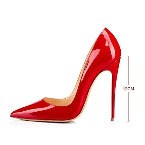 Heel On Rot Pumps Pumps Stilettos Dress Slip Pumps Pumps Pumps Spitze High Heel High Frauen glasiert Schuhe Onlymaker YqIUAx