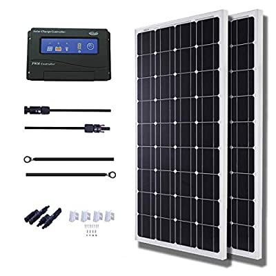 KOMAES 100 Watts 12Volts Monocrystalline Solar Panel with Energy-efficient Tech Kit Includes 20Amp PWM Solar Charge Controller, 20ft Tray Cable, 20ft MC4 Cable, Mounting Z Brackets