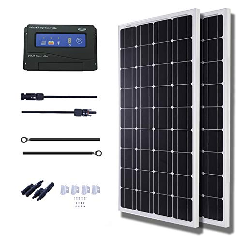 Industrial Solar Panel - KOMAES 200 Watts 12Volts Monocrystalline Solar Panel Kit with 20Amp PWM Solar Charge Controller, 20ft Tray Cable, 20ft MC4 Cable,Z Brackets for RVs,Trailers,Boats,Sheds,Cabins