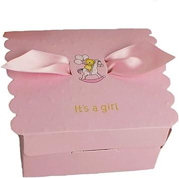 Lance Home 50Pcs Caja Pequeña para Caramelos Regalo Bombones Recuerdos Bautizos Bodas con Cinta para Boda Cumpleaños Fiesta Bienvenida Bebé Sagrada Comunión ala de Angel (Rosa): Amazon.es: Juguetes y juegos