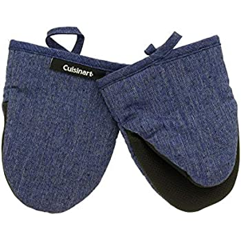 Cuisinart Chambray Neoprene Mini Oven Mitts, 2pk - Heat Resistant Kitchen Gloves to Protect Hands & Surfaces w/ Non-Slip Grip & Hanging Loop -Ideal for Handling Hot Cookware/Bakeware - Indigo