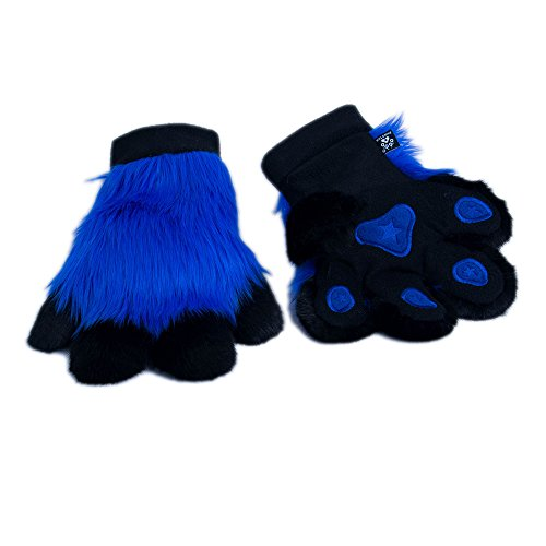 (Pawstar Paw Mitts Furry Animal Hand Paws Costume Gloves Adults - Blue)