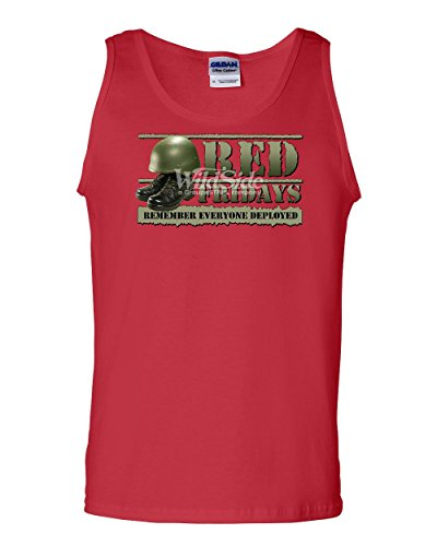 Red Fridays Remember Everyone Deployed Tank Top Support US Troops Sleeveless Red S