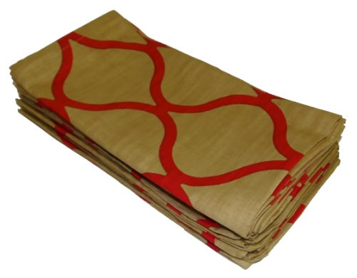 UPC 011631615334, Cotton Craft Napkins - Moroccan Tile - 12 Pack Oversized Dinner Napkins - Gold-Red - 100% Super Soft Premium Cotton - Tailored with a generous hem - Napkins measure 20 inches by 20 inches - Easy care machine wash