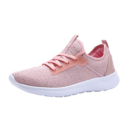 YILAN Women's Fashion Sneakers Breathable Sport Shoes (9 B(M) US, Pink-7) (Best Ladies Tennis Shoes)