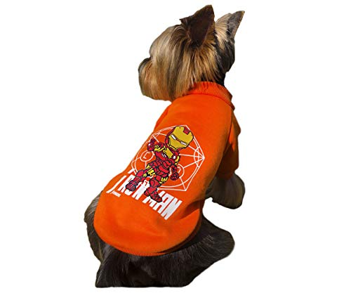 Orange Red White Yellow Dog Pet Clothes for Small Dogs Cat Sweater Hoody The Avengers Super Hero Iron Man Halloween Marvel M