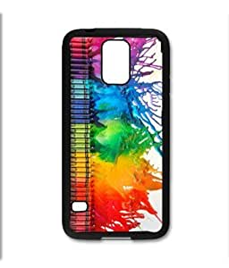 Samsung Galaxy S5 SV Black Rubber Silicone Case - Melting Crayons Colorful Case Melted Crayolas