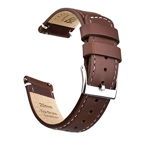 Ritche 20mm Quick Release Leather Watch Band Compatible with Samsung Gear Sport Watch Brown Genuine Leather Watch Bands for Men