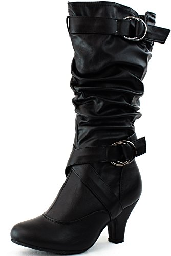 TOP Moda Women's Auto-2 Round Toe Dress Boot, Black PU, 9