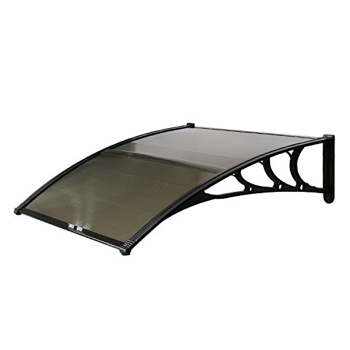 Kinbor Outdoor Door Window Outdoor Awning Solid Polycarbonate Patio Sunshade Cover Canopy Arc-Shape Rain Shelter (40x40, Brown)