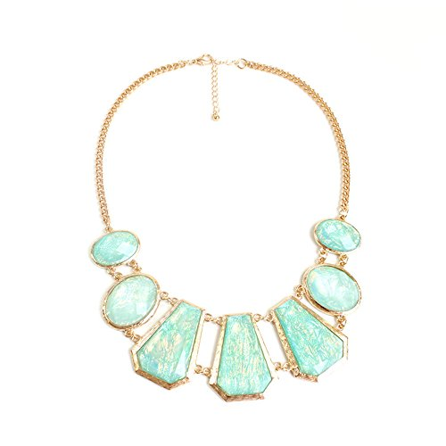Teniu Fashion Crystal Flower Necklace Statement Collar Necklace Vintage Jewelry For Women Necklace (green)