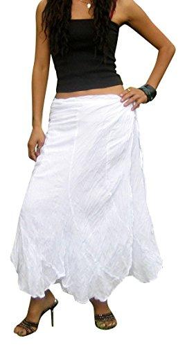 Billy's Thai Shop Cotton Wrap Skirt Hippie Wrap Skirt Boho Skirts for Women, White L