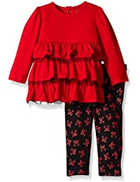 Baby-Girls Tierred Knit Tunic and Bow Print Legging Set