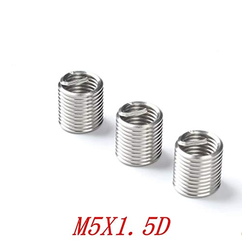 Ochoos 50pcs M51.5D M5x1.5D M5 Screws Thread Inserts Stainless Steel Coiled Wire Helical Screw Thread Inserts
