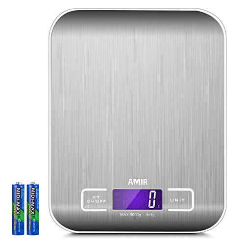 AMIR Digital Food Scale, (5000g, 0.1oz/ 1g) Kitchen Scale, Electronic Cooking Food Scale with LCD Display, Stainless Steel, Accurate Gram and Slim Design, 2 batteries (included) [Energy Class A+]