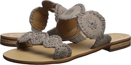 Jack Rogers Women's Lauren Suede Slide Sandal, Dove Grey, 11 Medium US -
