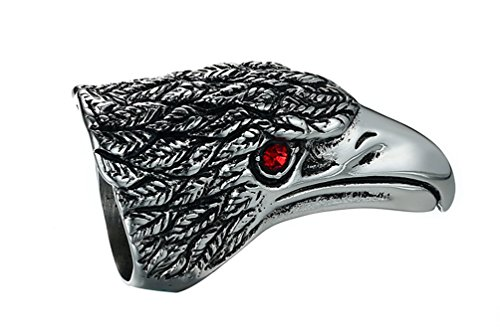 Rinspyre Men's Stainless Steel Detailed Red Cubic Zirconia Eyes Eagle Head Wrap Ring Size (Bald Head Halloween Costume Ideas)