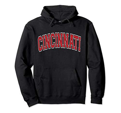 Cincinnati Hoodie - Varsity Style Red Text