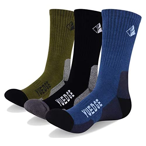 YUEDGE Men's Cushion Crew Socks Outdoor Recreation Multi Performance Trekking Climbing Backpacking Hiking Socks (XL, 3 Pairs)