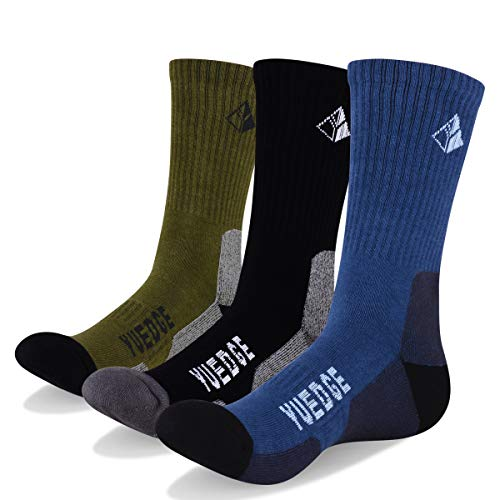 YUEDGE Men's Cushion Crew Socks Outdoor Recreation Multi Performance Trekking Climbing Backpacking Hiking Socks (L, 3 Pairs)