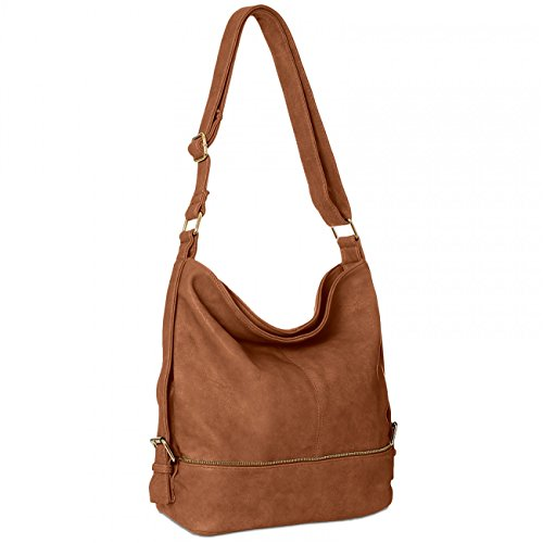 Format Golden A4 Small Messenger CASPAR TS732 Bag Womens Bag for Zip Cognac Shoulder qxwz6TP