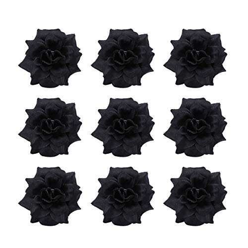 Tinksky 50pcs Silk Rose Flower Heads for Hat Clothes Album Embellishment Decoration (Black) -