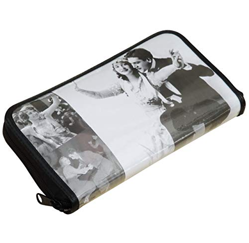 - Large zip wallet with black & white prints of Hollywood and Broadway old times stars - FREE SHIPPING Gift idea for vintage retro lover woman friend fan dance dancing Twist Walls romantic poster