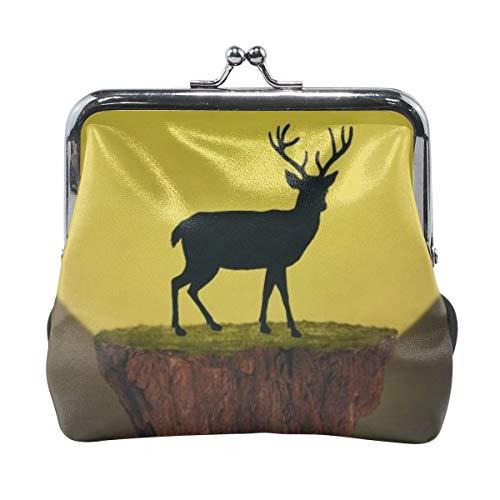 (Deer On Float Island Moon Buck Women Coin Purse Wallet Card Holder Clutch Bag PU Leather Handbag Credit Cards Pouch)