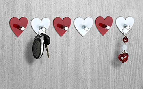 PSM Heart Heavy Duty Adhesive Decorative Sticky Key Holder (H50 x W50 x D23 mm) – Pack of 6 (Red & White)