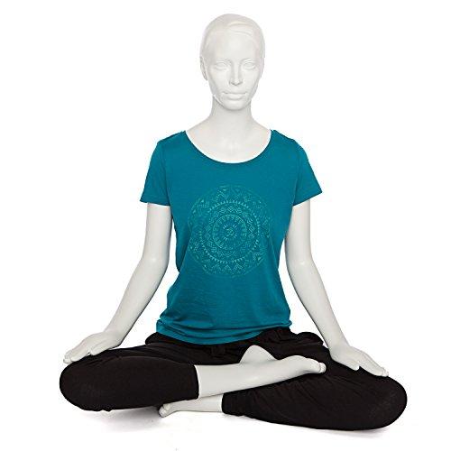 Bodhi de yoga pour femme ethnique de mandala, petrrol, 100% coton bio, manches courtes T-shirt avec Print