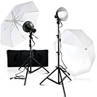Julius Studio Photography Photo Video Studio 2-Pack LED Day Light Umbrella Continuous Lighting Kit with Carry Bag, JSAG367