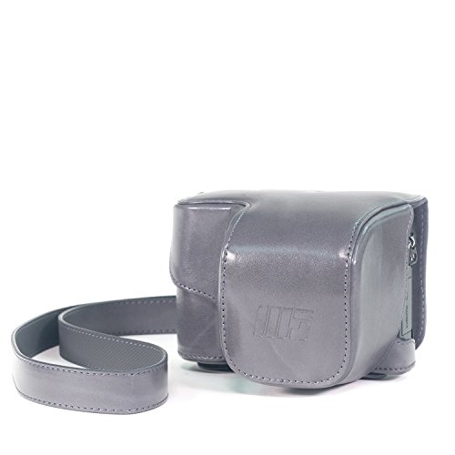 MegaGear Ever Ready Protective Leather Camera Case, Bag for Sony Alpha A5000 Sony A5100 with 16-50mm OSS Lens (Grey)