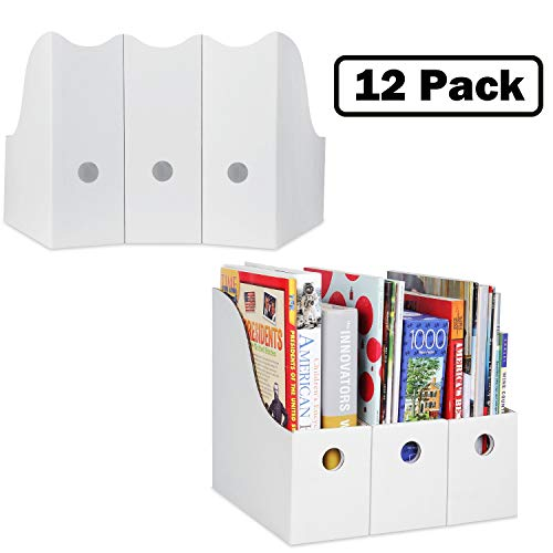 - Magazine File Holders Book Organizer (Set of 12, White), Sturdy Cardboard Vertical Folder Organizer, Classroom Cubby, Office File Storage; Magazine Box, Book Holder, Binder Holder by Dunwell