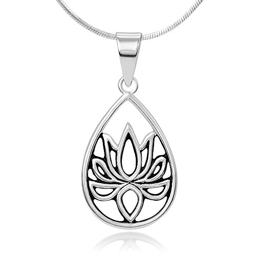 Chuvora 925 Oxidized Sterling Silver Open Filigree Blossom Lotus Flower Teardrop Pendant Necklace, 18