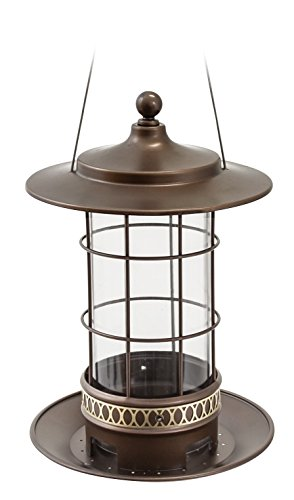 (More Birds (82) Bird Feeder with 2.5 lb Bird Seed Capacity, Copper Finish Trellis Lantern-Style Bird)