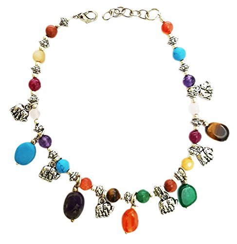 Mehrunnisa Fashion Chakra Healing Gemstones And Elephant Charms Anklet For Girls (JWL680) by Mehrunnisa