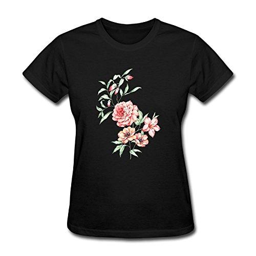 Justinflashsale Women Basic Solid Crew Neck Short Sleeve T-Shirt FLOWER SERIES - Womens Flower Series T-shirt