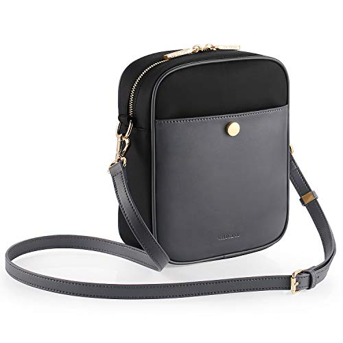 CHICECO Cross Body Bag for Travel Work - Black, Vegan Leather and Nylon