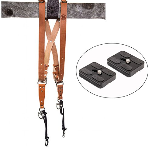 HoldFast Gear Money Maker Multi-Camera Harness, Bridle Leather, Small, (Tan) and Two Ivation Replacement Plates for the Mefoto Roadtrip, Backpacker Tripod Systems by Calumet