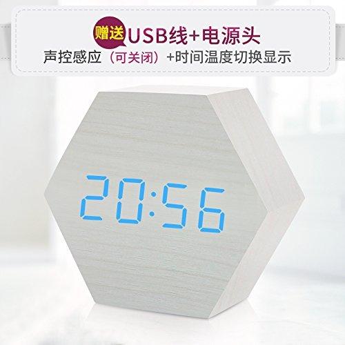HOMEE Clock-hexagonal wood luminous led alarm clock,H by HOMEE