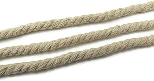 SiAura Material ® - Cuerda de algodón (10 m, trenzado, grosor de 4 mm), color gris y blanco: Amazon.es: Hogar