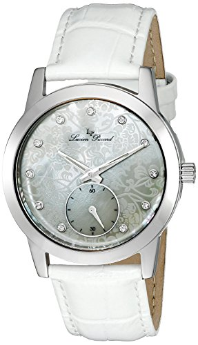 Lucien Piccard Womens Crystal - Lucien Piccard Women's 'Noureddine' Quartz Stainless Steel and White Leather Casual Watch (Model: LP-40037-02MOP-WHS)