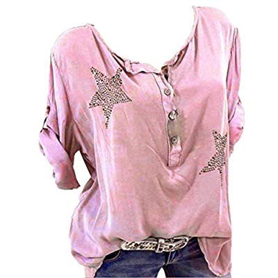 Aniywn Plus Size Women's Button Roll Up Blouse Casual 3/4 Sleeve Star Printed Tops T-Shirt at  Women's Clothing store