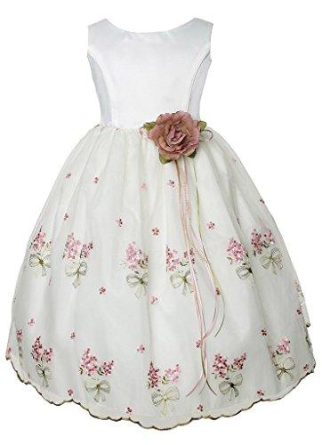 iGirlDress Big Girls Embroidered Organza Flower Girls Dresses 8 Ivory/Rose