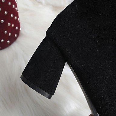 Heart&M Damen Stiefel Komfort Neuheit Frühling Winter Kunstleder Normal Schnürsenkel Blockabsatz Schwarz Gelb 5 - 7 cm Beige
