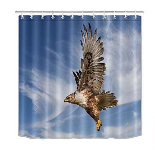 LB Animal Bird Decor Shower Curtain Set Eagle Spread Wings Flying in Blue Sky Bathroom Decoration 72x72 inch Polyester Fabric Bathtub Curtain with Hooks Mildew Resistant ()