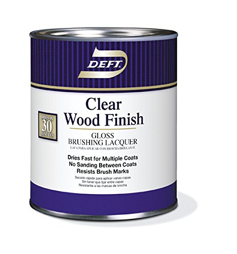 Brushing Lacquer, DFT010/04, Clear Gloss, 1 Quart, Clear Wood Finish