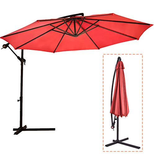 FDW Patio Umbrella Offset 10' Hanging Umbrella Outdoor Market Umbrella D10