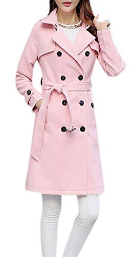 Women's Plus Size Elegant Woolen Double-Breasted Lapel Long Maxi Pea Coat with Belt
